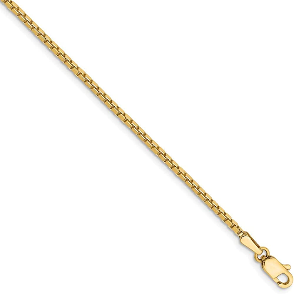 Solid 14k Yellow Gold 1.5mm Box Chain Necklace with Secure Lobster Lock Clasp