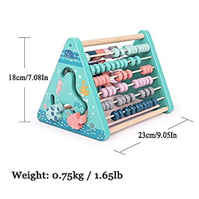 Stationery 5 in 1 Wooden Activity Triangle Alphabet Building Blocks Abacus Clock Early Education Cognitive Wooden Toy: Toys & Games