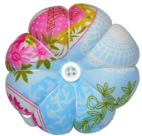 Lontenrea Pumpkin Pin Cushion Wearable Wrist Needle Pincushions (Pattern Tend to Blue + Pink)