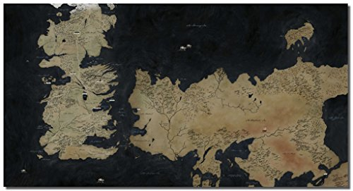 Picture Sensations Framed Canvas Art Print, Game Of Thrones Map Gaming Art Prints Video Games Wall Canvas Art - 36