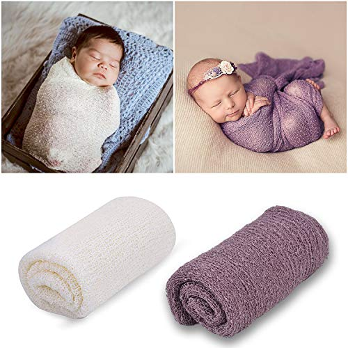 Outgeek Newborn Baby Photography Props 2 Pack Long Ripple Wrap DIY Newborn Photography Wrap (Lilac and White) -