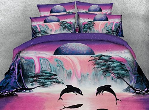 Waterfall Dolphin (shophubb girls pink and purple doona covers 4pcs single double size bed linen dolphin waterfall earth bedding set Super king duvet cover)