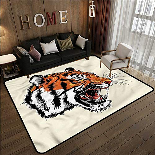 Kids Rug Tiger Noble Beast of The Bengali Ideal Gift for Children 5'6