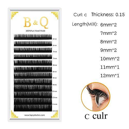 b9fbd0225e9 B&Q Lash Mixed Tray Eyelash Extensions Individual Mink Eyelash D & C Curl  Thickness 0.07 0.10
