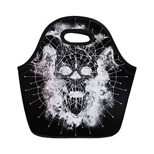 Tinmun Lunch Tote Bag Black and White Devil