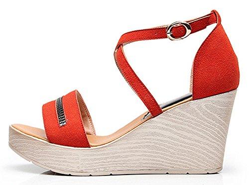 Orange Lanières Croisées Plateforme Fashion Cheville Femme Sandales Bride Easemax q8HaB6x
