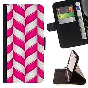 """For Samsung Galaxy S6 Edge Plus / S6 Edge+ G928,S-type Caña Pink White Lines Rayas de Navidad"""" - Dibujo PU billetera de cuero Funda Case Caso de la piel de la bolsa protectora"""