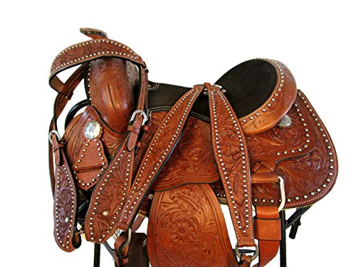 (Premium Brown 12 13 Western Leather Youth Kids Pony Saddle Trail Show TACK (13))
