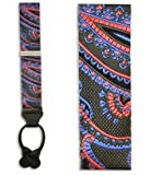 100% Silk Charcoal, Red, and Blue Cameron Paisley Suspenders