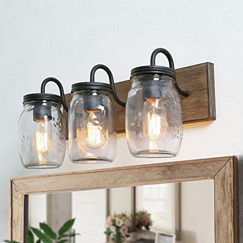 LNC Bathroom Vanity Light Fixtures, Farmhouse Mason Jar Lights with Faux Wood - Canopy Mirrors With Bathroom Lighting