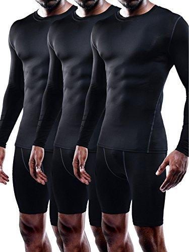 Training Sleeve Shirt (Neleus Men's 3 Pack Athletic Compression Sport Running T Shirt Long Sleeve Base Layer,Black,US L,EU XL)