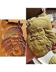 Kakform skärare trä kakform, kakform prägling form, trä tomte huvud kakform, roliga kakformar för bakning, 3D kakformar för bakning, träform (jultomte)