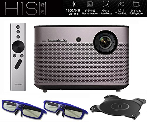 Native 1080p Projector, XGIMI H1S-Aurora 1080p HD Android Smart Projector 3D Home Theater Projector TV with Harman/Kardon Customized Subwoofer Stereo Build-in LiveTV Services by XGIMI
