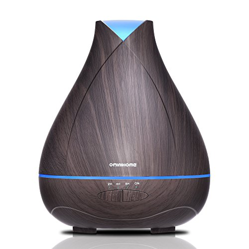 Aromatherapy Essential Oil Diffuser 530ml Cool Mist Ultrasonic Fragrance Scent Air Humidifier Wood Grain 18 Hours Aroma Diffuser with 7 Color Auto Shut Off for Home/Bedroom/Office Mother's Day Gift