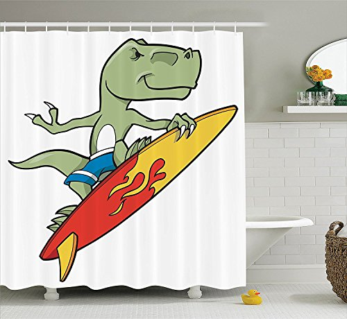 Reptile Decor Collection Funny Surfing Trex in Water on Plain Background Safari Flame Cool Fictional Home Polyester Fabric Bathroom Shower Curtain Green Red ()