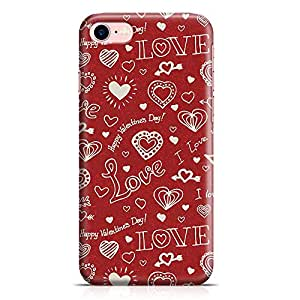 Loud Universe iPhone 8 Case Valentines Love Heart Pattern Transparent Edge Durable Wrap Around iPhone 8 Cover 16