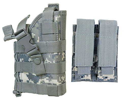 M1SURPLUS ACU Digital Camo MOLLE Compatible Holster With FREE MOLLE Compatible 2 Pocket Magazine Pouch / The Holster Fits Glock 17 20 21 22 37 31 FN FNS FNP FNX Walther P22 P99 Pistols (Pistol P22)