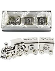 Silverplated First Tooth and Curl Set Train with 2 Carriages