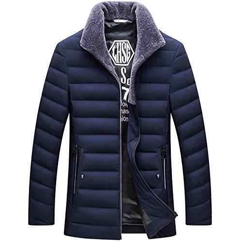 LUOTIANLANG Men's casual coat winter jacket lapel high fashion white down jacket Navy