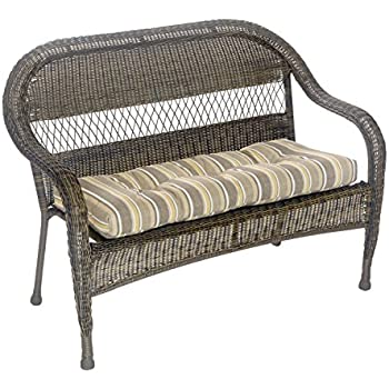 Outdoor Patio Bench Cushion   Solid And Patterns   43 X 19 X 3 (Brady  Stripe Gray)