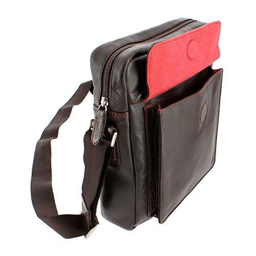 Tablet oscuro Verdadera Piel Hombre y bolsillo Cremallera Messenger Bolso Pelle de Doble exterior Marron para Bandolera Nuvola con I4wxTzqXE