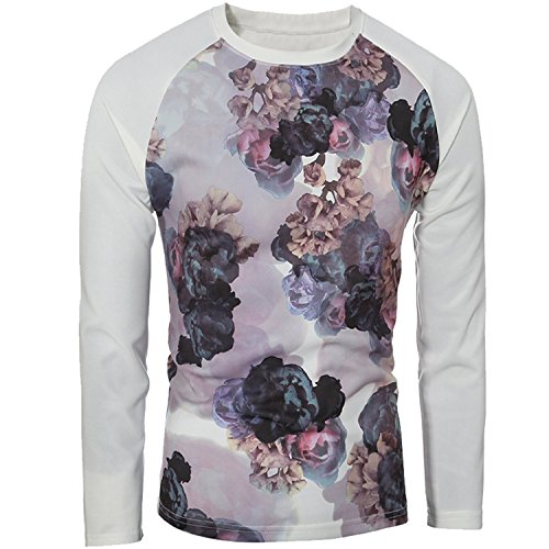 Carterd Air Permeability Mens Long Sleeve Casual Crewneck Floral Pullover Sweatshirt Cool item (Morph Suit Price)