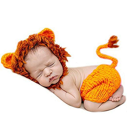 Newborn Baby Crochet Knitted Lion Photo Photography Props Handmade Unisex Baby Hat Diaper Outfit (Lion)