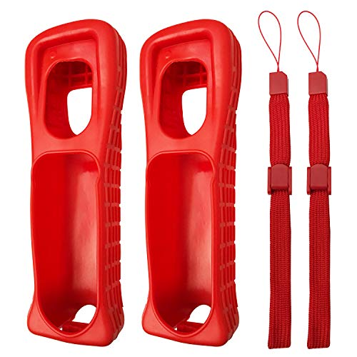 - Jadebones 2X Red Silicone Skin Case Cover with Wrist Strap for Nintendo Wii Remote Controller