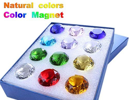 Glass Diamond Crystal Pirate Gems and Jewels Treasure Chest Party Favors Set of 12 Pcs for Kids 30mm (1-1/5'')