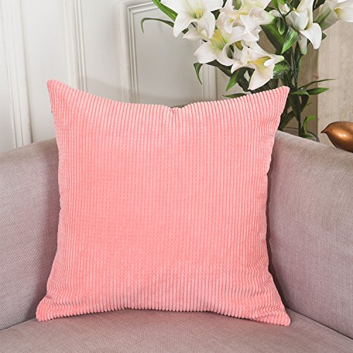 Home Brilliant Decoration Solid Soft Corduroy Plush Throw Cushion Cover for Square Pillow (18 x 18 inch, Coral)
