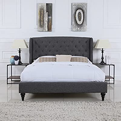 DIVANO ROMA FURNITURE Classic Dark Grey Box-Tufted Shelter Bed Frame (Queen) - Classic and sophisticated bed frame with tufted shelter style headboard in a rich dark grey color Headboard is designed to make a statement - Beautiful tufted fabric and low profile for a luxurious look and feel Hardwood brown legs with a classic design - This bed requires minor assembly, hardware and instructions included - bedroom-furniture, bed-frames, bedroom - 514qWQT70gL. SS400  -