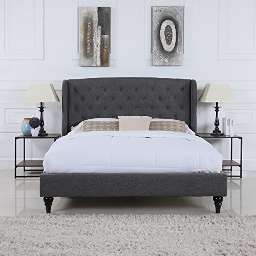 Classic Dark Grey Box-Tufted Shelter Bed Frame
