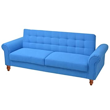 Amazon.com: vidaXL Convertible Sofa Bed Fabric Blue Couch ...