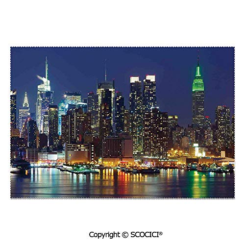 SCOCICI Set of 6 Printed Dinner Placemats Washable Fabric Placemats NYC Midtown Skyline in Evening Skyscrapers Amazing Metropolis City States Photo for Dining Room Kitchen Table Decoration -