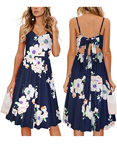 OUGES Womens Summer Backless Adjustable Spaghetti Strap Tie Back Floral Dress(Floral02,L)