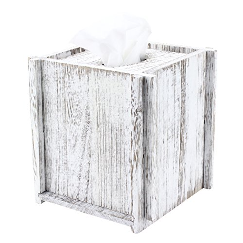 Comtelek Tissue Box Cover Square Tissue Holder Wooden Rustic Torched Bathroom Facial Tissue Dispenser With Slide-Out Bottom Panel White Novelty Splicing Napkin Holder (Square) (Beach Box Tissue Theme Cover)
