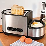 Toaster and Egg Maker, 5-in-1 Toaster, 2-Slice Toaster with Extra-Wide Slots, Defrost/Reheat/Cancel Function, Fry Eggs, Boil Eggs and Steam Eggs, Removable Crumb Tray, Stainless Steel