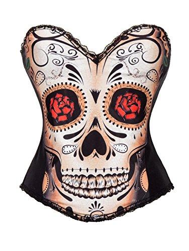 JJ-GOGO Sexy Black Skull Day of The Dead Halloween Costume Corset (L)