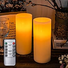 """Homemory 7"""" Real Wax Flameless Battery Operated LED Candles, 2 PCS Amber Yellow Realistic Pillar Candles with Remote Control & Cycling 24-Hour Timer, Long Battery Life 200+ Hours"""