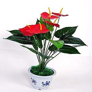 WG Emulate Bonsai 1 Bouquet Anthurium Posy House Decorative Artificial Silk Flowers Vivid Fake Pot Plants Home Decor 16