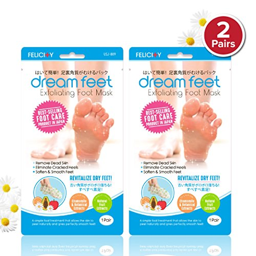 Dream Feet Exfoliating Foot Peeling Mask with All-Natural Extracts (2 Pairs) from Daiwa