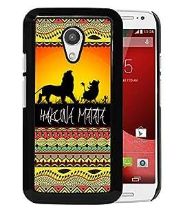 Motorola Moto G (2nd generation) Case,100% brand new Hakuna Matata on Sunset Lion King Black Case For Motorola Moto G (2nd generation)