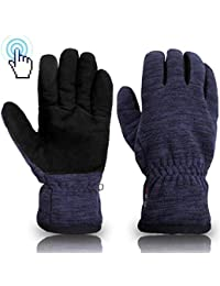 SKYDEER Winter Touch Screen Gloves with Soft Warm Deerskin Suede Leather and Windproof Polar Fleece (SD8666T/S)