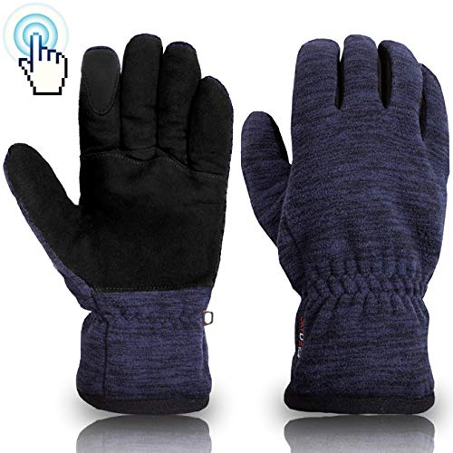 SKYDEER Winter Touch Screen Gloves with Soft Warm Deerskin Suede Leather and Windproof Polar Fleece (Unisex SD8666T/XL)