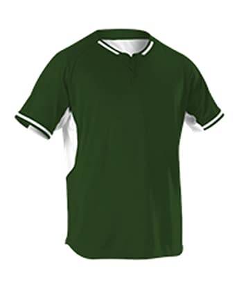 2e3608700 Amazon.com: Alleson Youth 2 Button Baseball Jersey Dark Green, White S  524PDY 524PDY-DGWH-S: Clothing