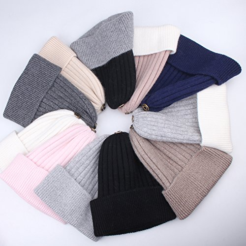1e995e3e083 Womens Winter Knit Beanie Hats Real Fur Pom Cashmere Blended Skull Cap Ski  Hat