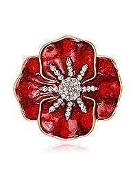 Fashion Chic Women Refined Rhinestone Poppy Brooches All-match Elegant Brooch Pins