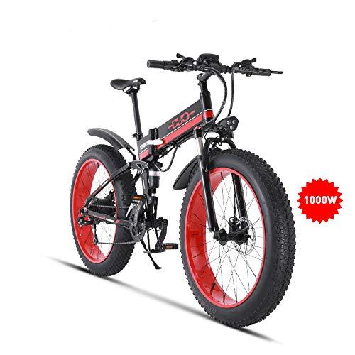 GUNAI 26 Inches Electric Snow Bike 1000W 48V Folding Fat Tire Mountain Bike MTB 21 Speed E-bike Pedal Assist Hydraulic Disc Brake