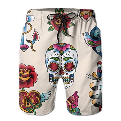 Zul Set of Traditional Color Tattoo Elements Swim Trunks Quick Dry Beachwear Swimwear Board Shorts with Mesh
