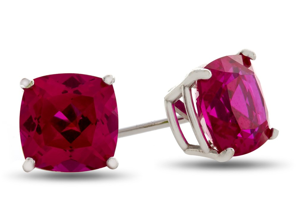Finejewelers 7x7mm Cushion Created Ruby Post-With-Friction-Back Stud Earrings 14 kt White Gold